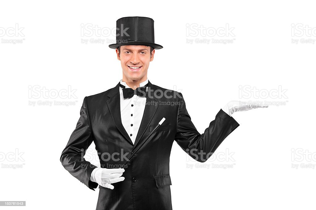 Magician wearing top hat stock photo