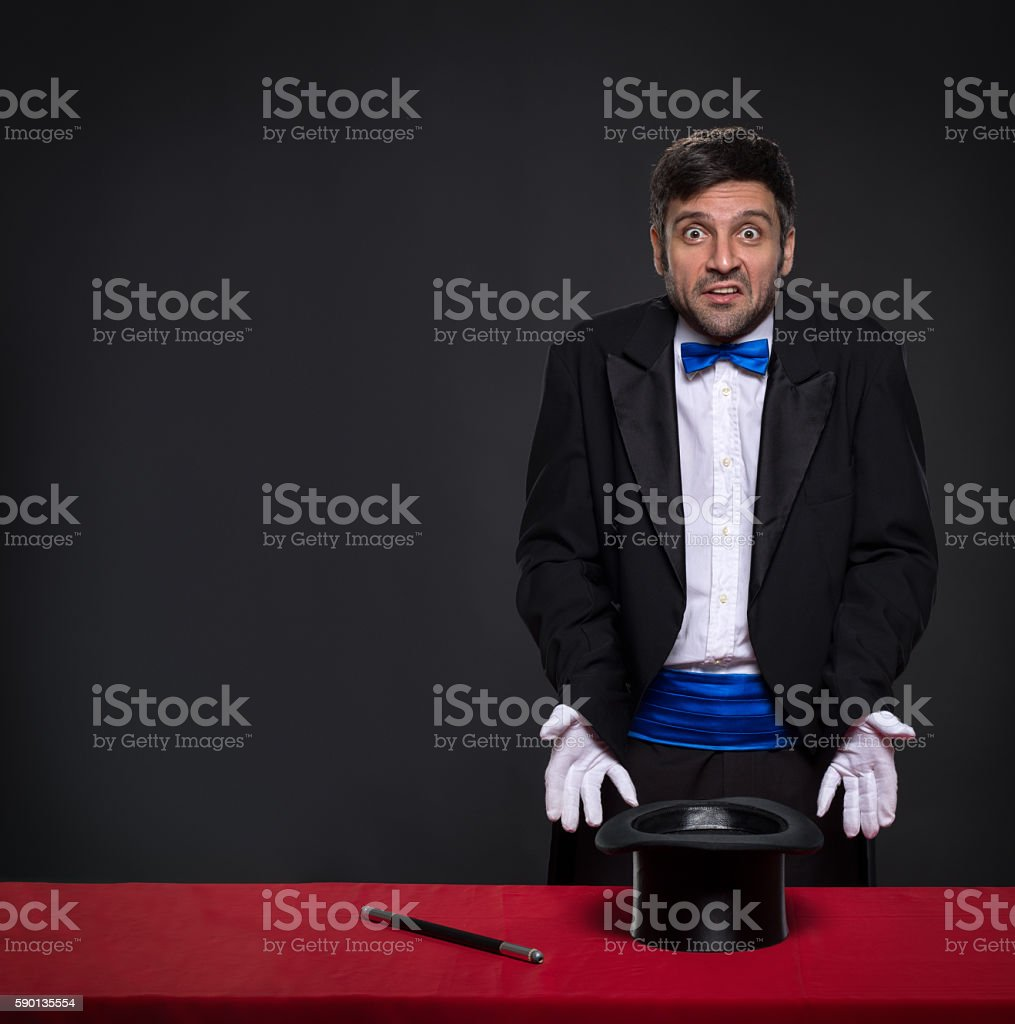 magician without magic stock photo