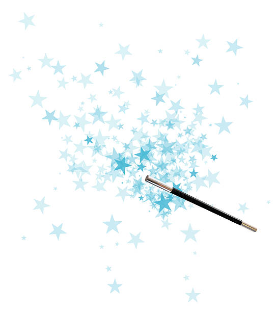 magician's wand over a background of blue stars - fairy wand stock photos and pictures