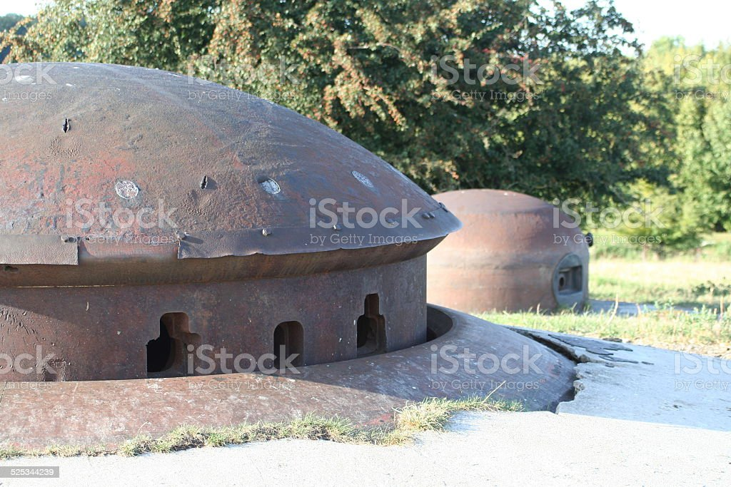 maginot cannon and machine gun turret stock photo
