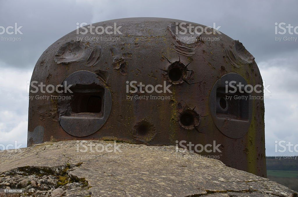 Maginot Line, Battle Scarred Bunker stock photo