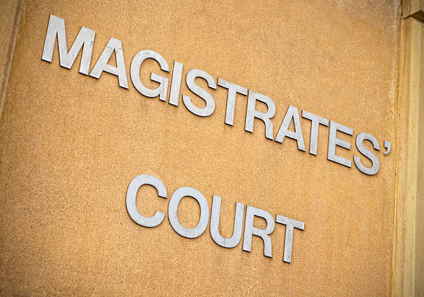 Magistrates' Court sign stock photo