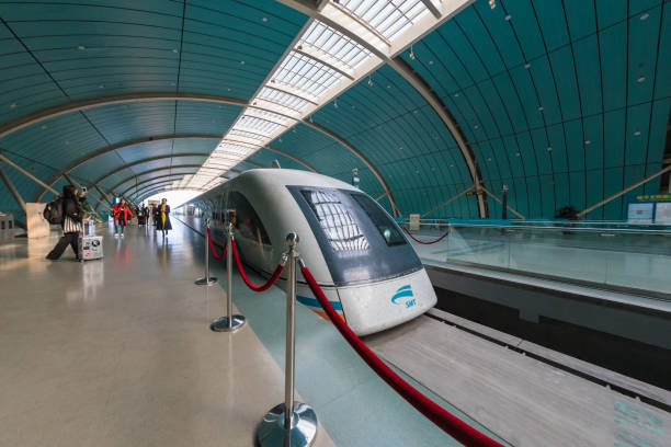 Maglev Train at the station in Shanghai, China stock photo