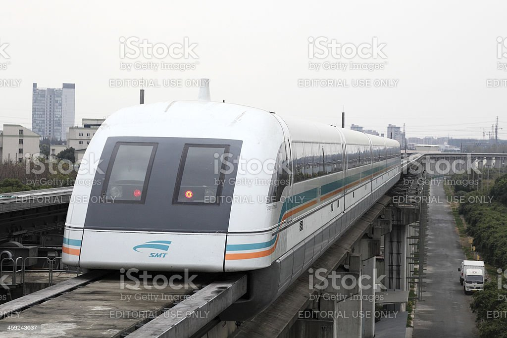 Maglev Train in Shanghai, China stock photo
