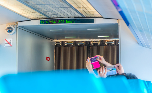 Maglev Train Interior Time and Speed View, Shanghai, China