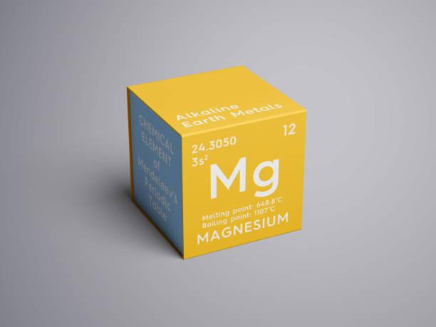 마그네슘입니다. 알칼리 성 지구 금속입니다. 멘델레예프의 주기율표의 화학 요소입니다. 스톡 사진