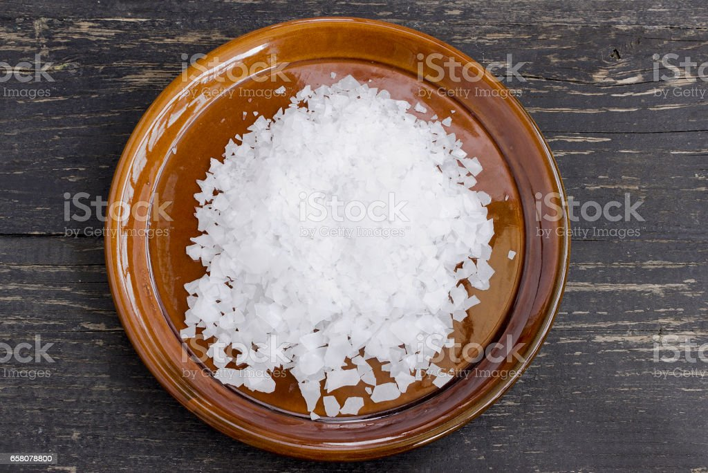 Magnesium chloride flakes stock photo