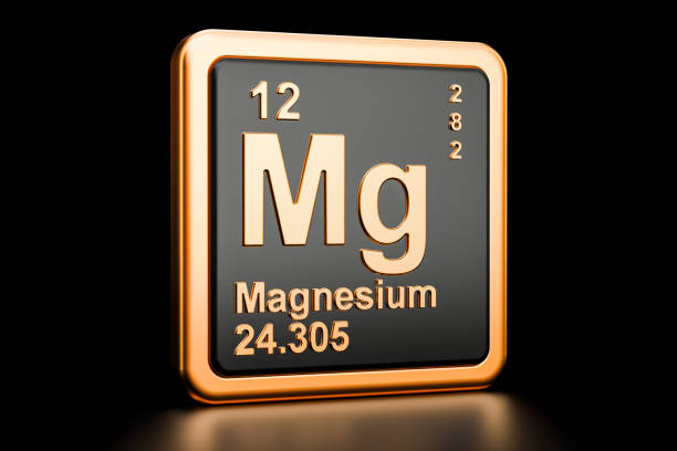 magnesium, mg chemical element. 3d rendering isolated on black background - magnesium stock photos and pictures