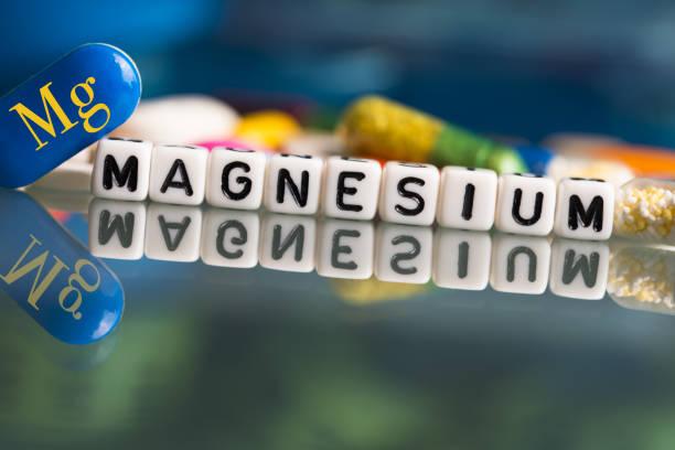 건강한 라이프스타일을 위한 마그네슘 미네랄 복합체 또는 보충제 - 마그네슘 뉴스 사진 이미지