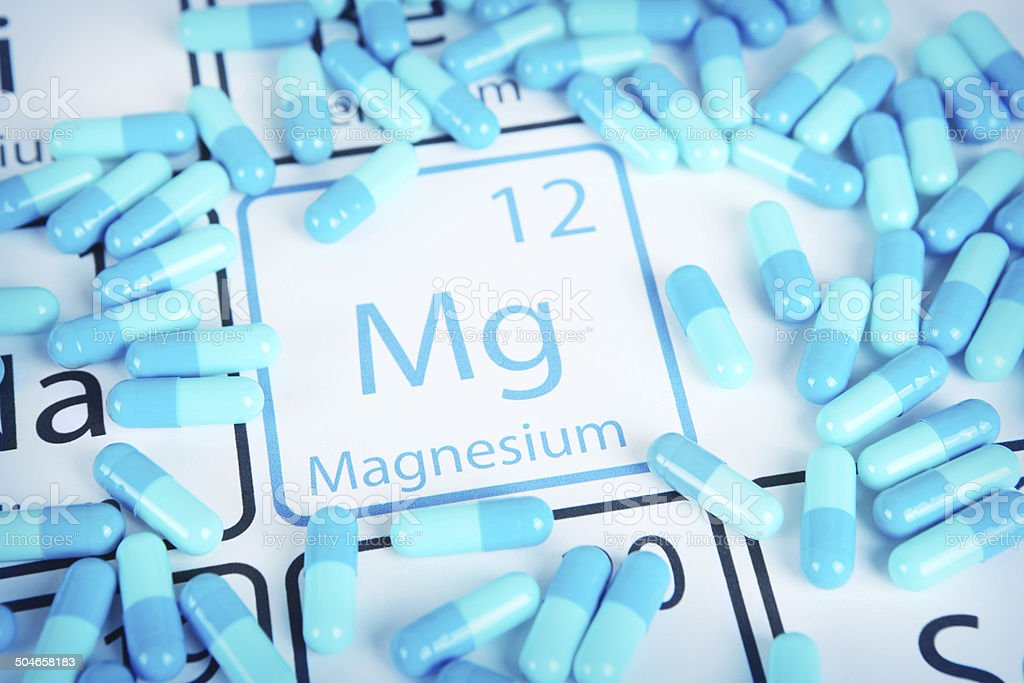 Magnesium - Mineral Supplement on Periodic Table stock photo