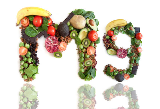 magnesium symbol made from food - magnesium stock photos and pictures