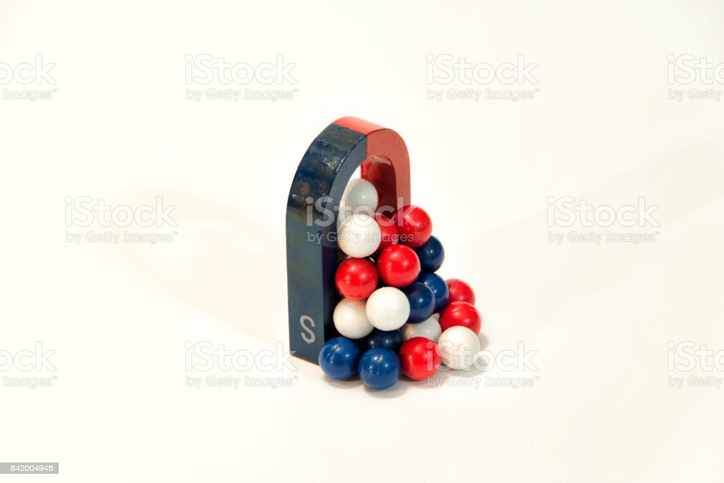 U magnet and magnet balls stock photo