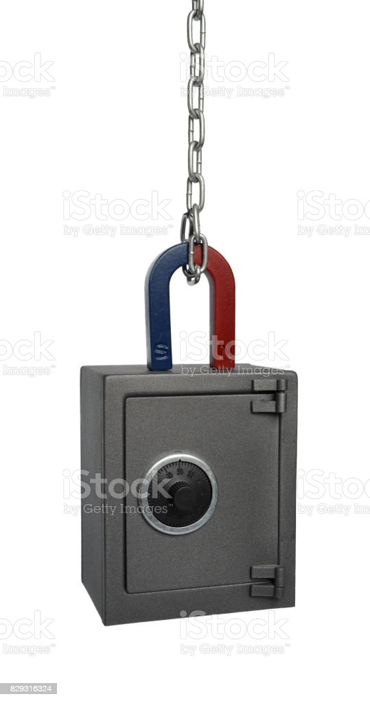 Magnet and safe stock photo