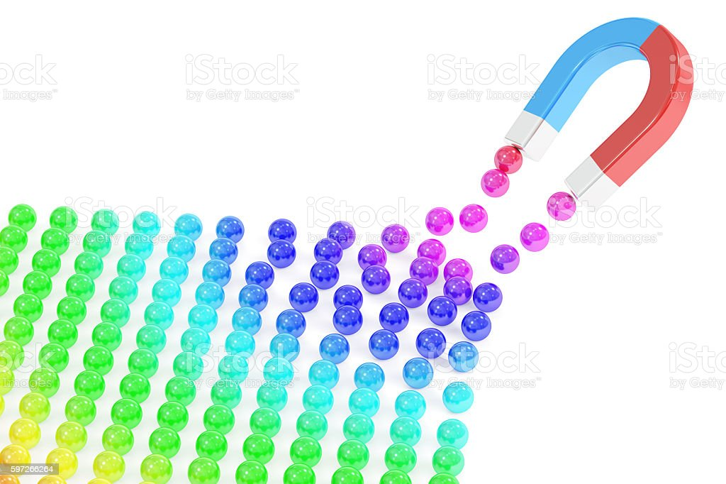 Magnet attracting balls, business concept. 3D rendering stock photo