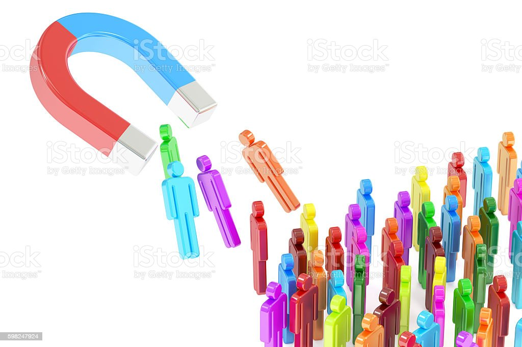 Magnet attracting people, business concept. 3D rendering stock photo