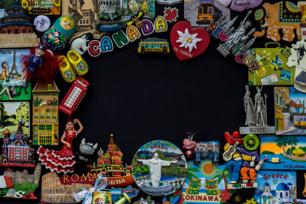 Magnet souvenir from all around the world stock photo