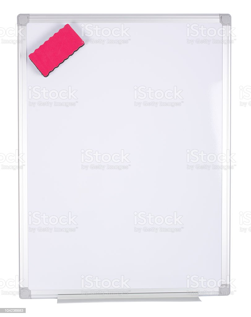 Magnet Whiteboard over White Background with a Magnet Eraser stock photo