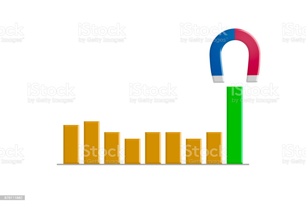 Magnet with Chart in Business Concept stock photo