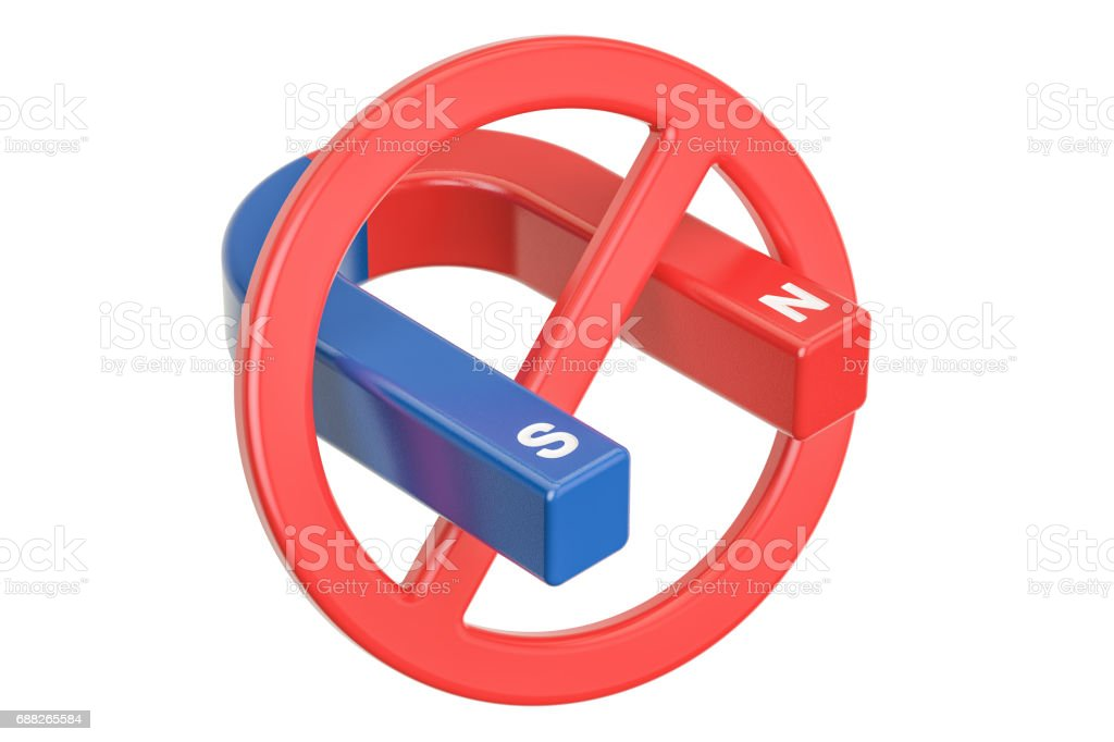 Magnet with forbidden, prohibition sign. 3D rendering isolated on white background stock photo