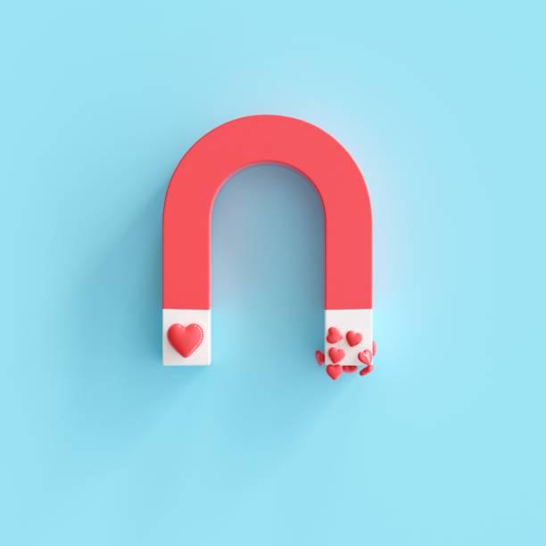 Magnet mit Herzform auf blauem Hintergrund, minimale Valentine Idea Konzept. 3D-Rendern – Foto