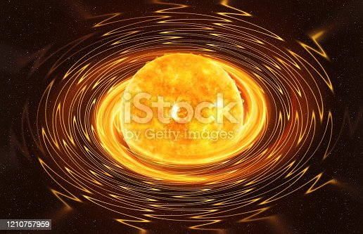 Magnetar star against dark starry sky artistic vision, elements of this image furnished by NASA