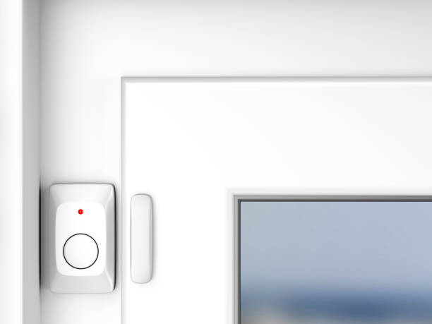 Magnetic alarm sensor Magnetic alarm sensor on window sensor stock pictures, royalty-free photos & images