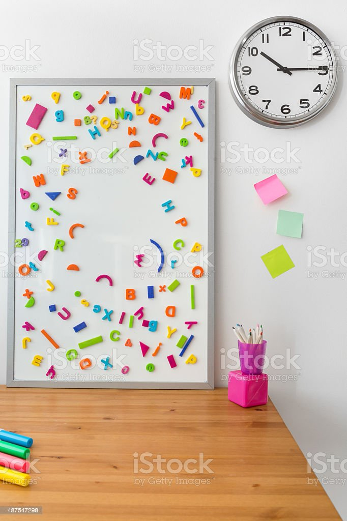 Magnetic board with letters stock photo