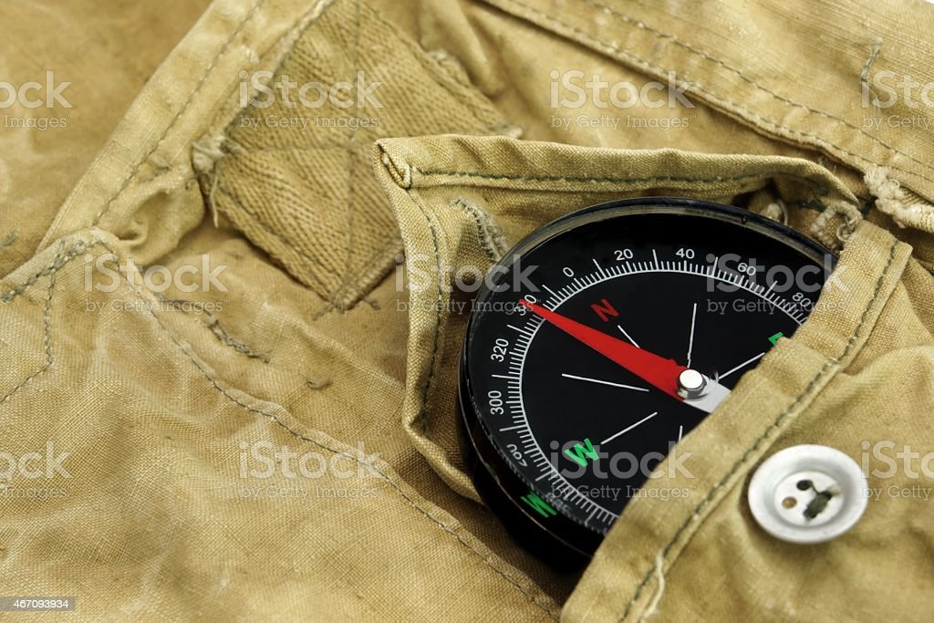 Magnetic Compass Lying Over a  Camouflage  Handbag stock photo