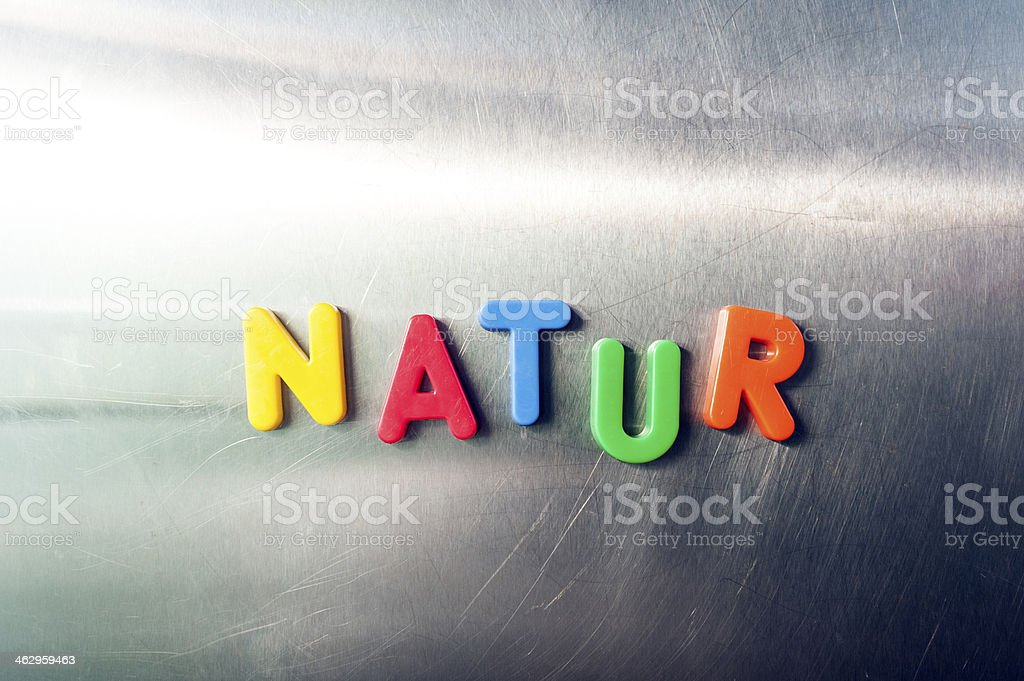 Magnetic Letter on metal background stock photo