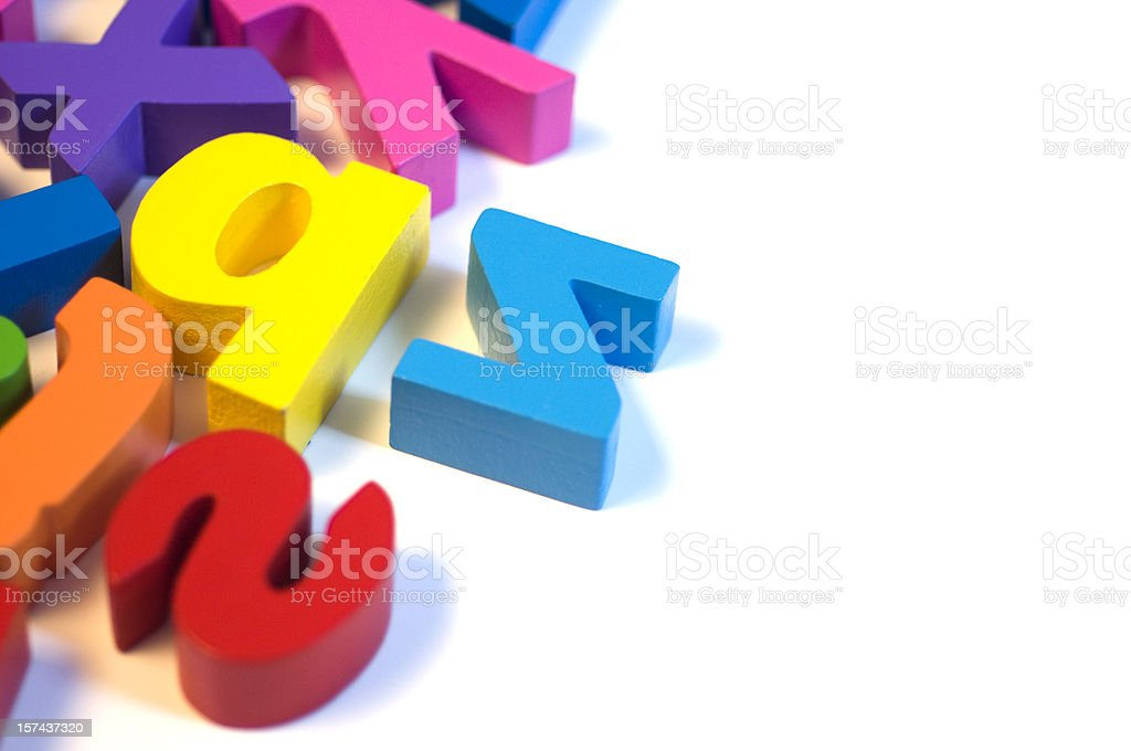 Magnetic letters on white background, close-up royalty-free stock photo