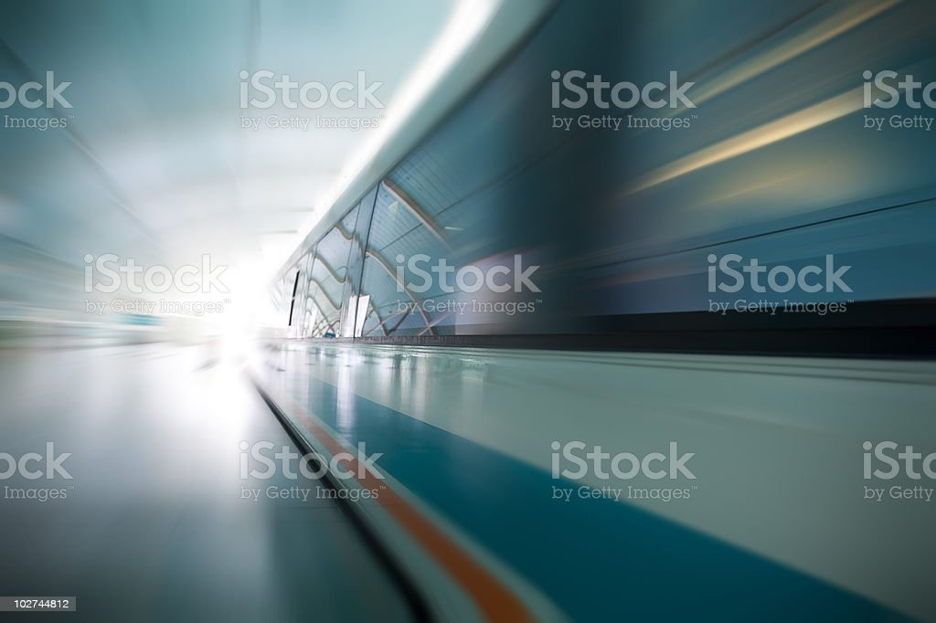 Magnetic levitation train stock photo