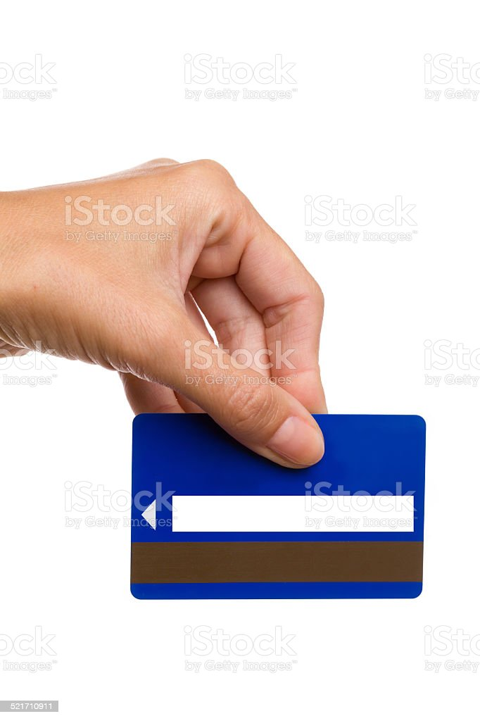 Magnetic stripe card in woman's hand stock photo