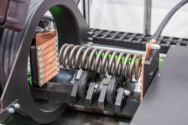 Magnetic system of non-destructive quality control stock photo