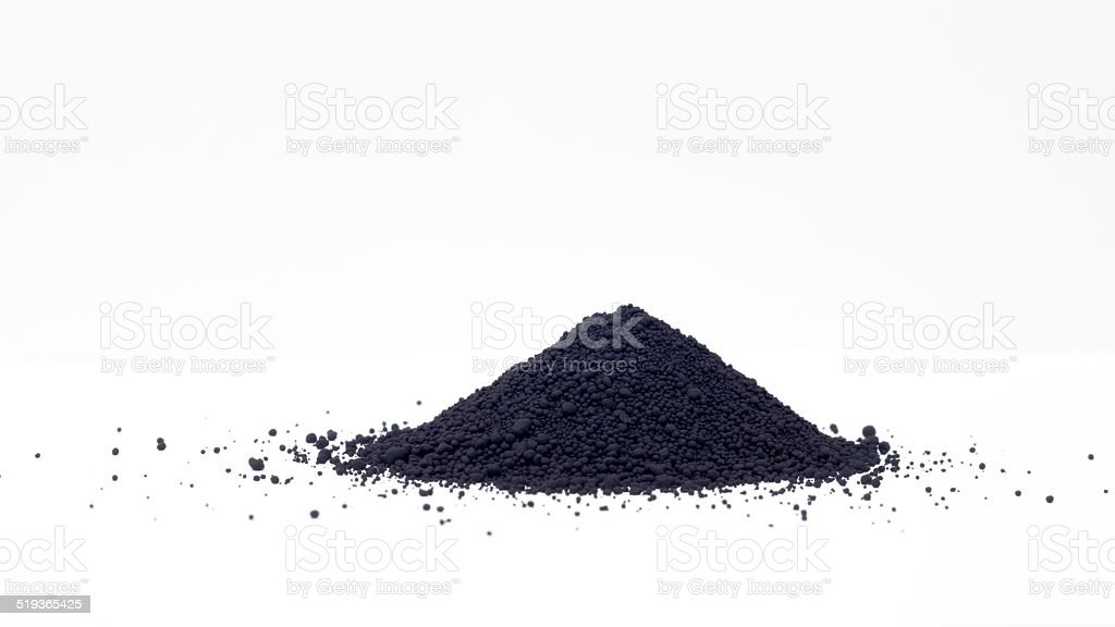 Magnetite powder or iron(II,III) oxide (Fe3O4) stock photo