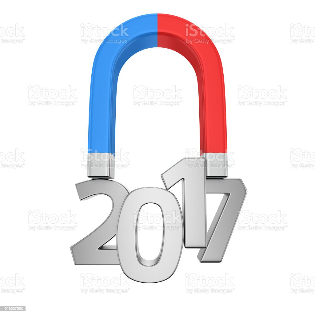 Magnetized digits 2017 stock photo