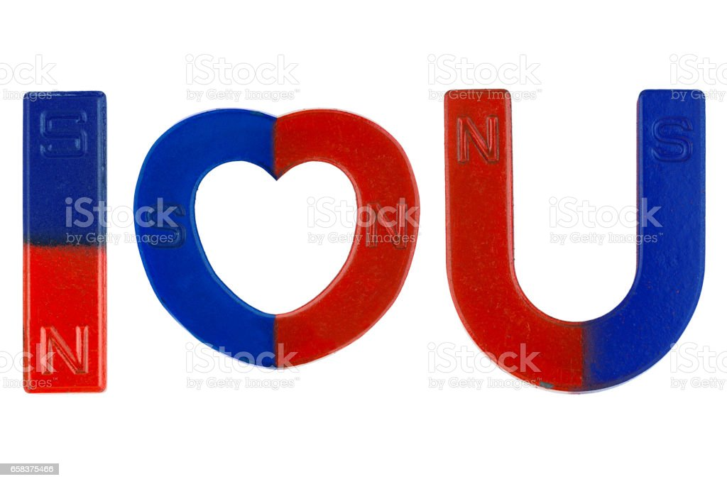Magnets in red blue with word I Love You ( letter alphabet I heart U) isolated on white stock photo