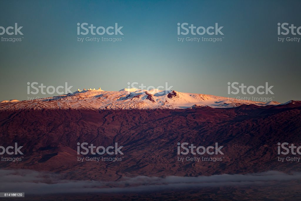 Magnicent and Snow Capped Mauna Kea and Research Telescopes stock photo