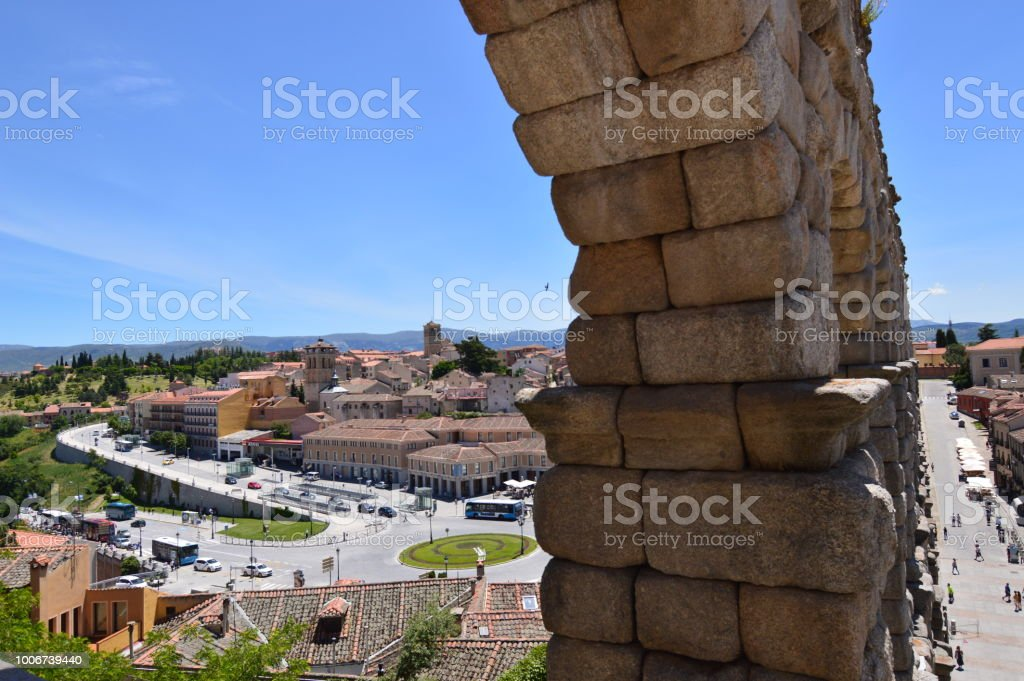 Magnificent Angular Photograph Of The Two Sides Of The Aqueduct In Segovia. stock photo