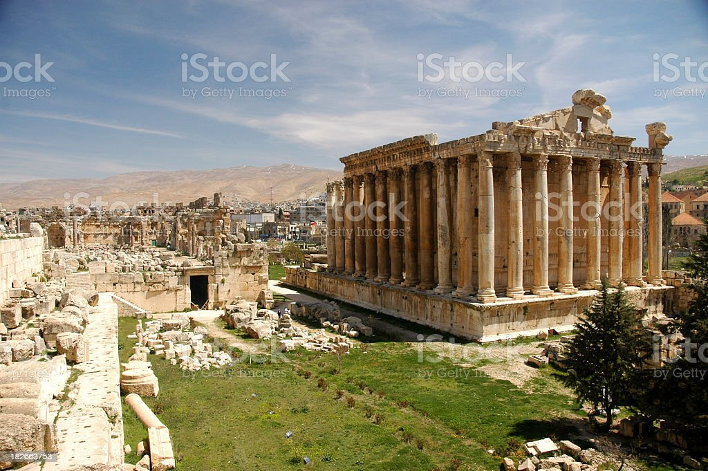 Magnificent Bacchus temple at Heliopolis in the sun stock photo