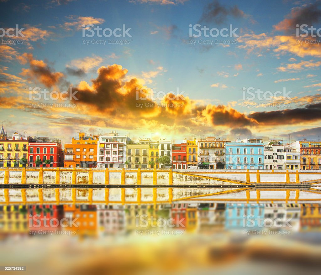 Magnificent Colorful panorama of Seville riverside stock photo