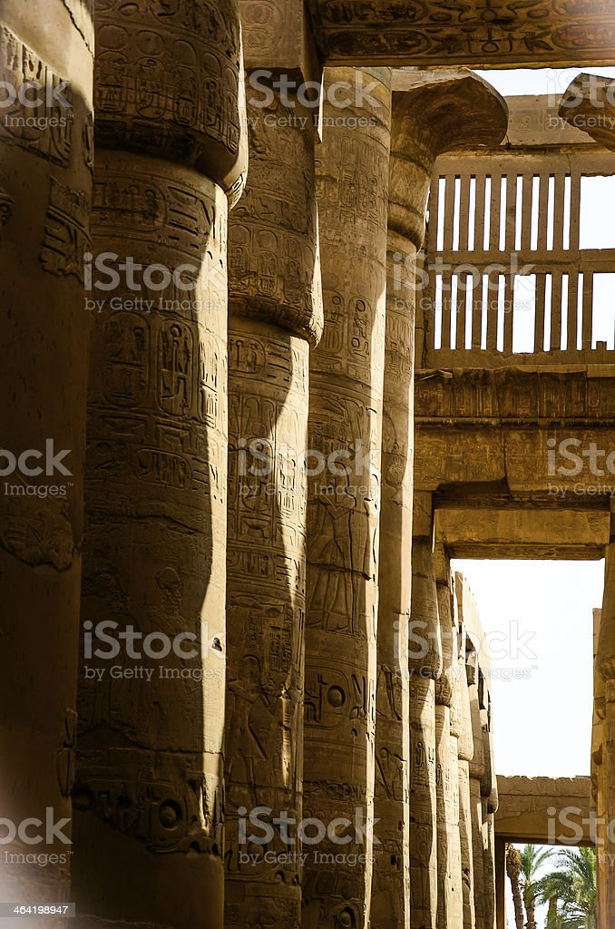 Magnificent columns of the Great Hypostyle Hall royalty-free stock photo