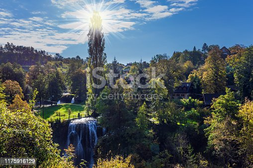 The small Croatian town of Slunj. Magnificent dense forests surround the city and the river. The concept of ecological, active and photo tourism