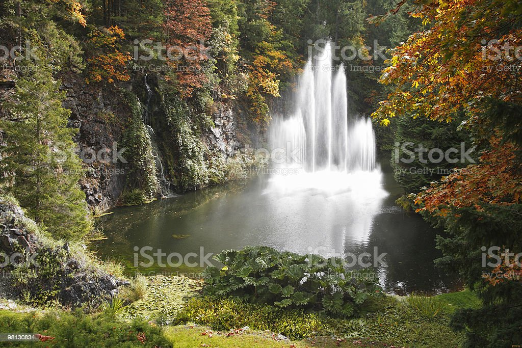 Magnificent fountain in well-known Butchard-garden royalty-free stock photo