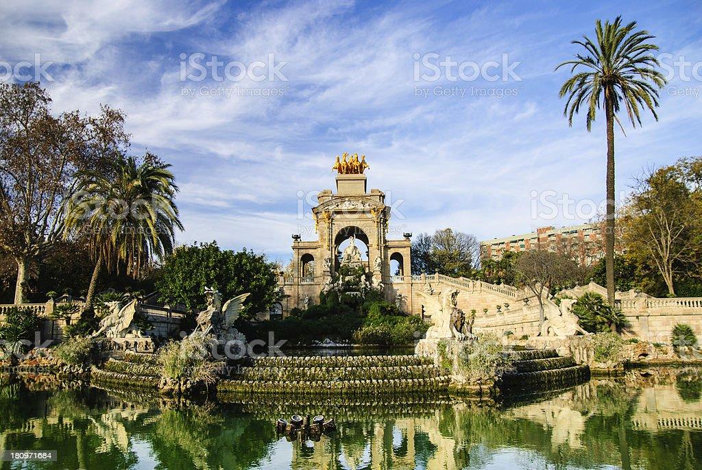 Magnificent fountain with pond in Parc de la Ciutadella, Barcelona royalty-free stock photo