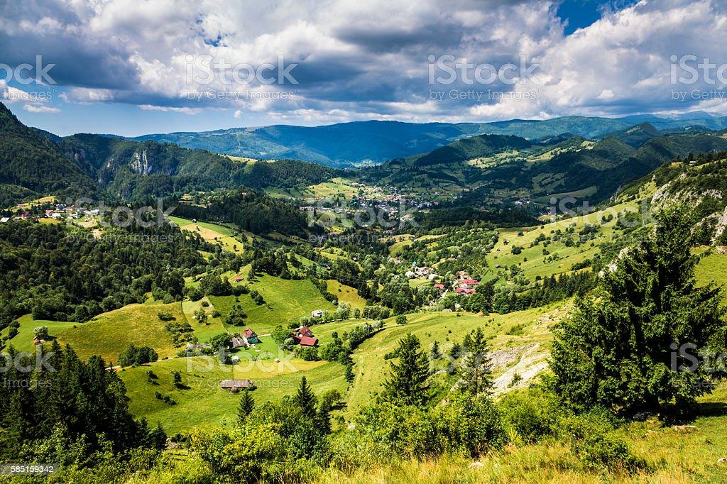 Magnificent green mountainous Transylvanian landscape in Romania stock photo