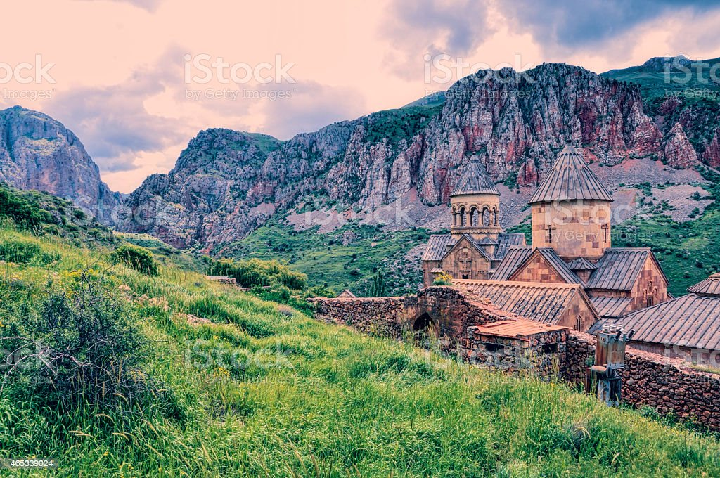 Magnificent hill view of Movarank Monastery stock photo