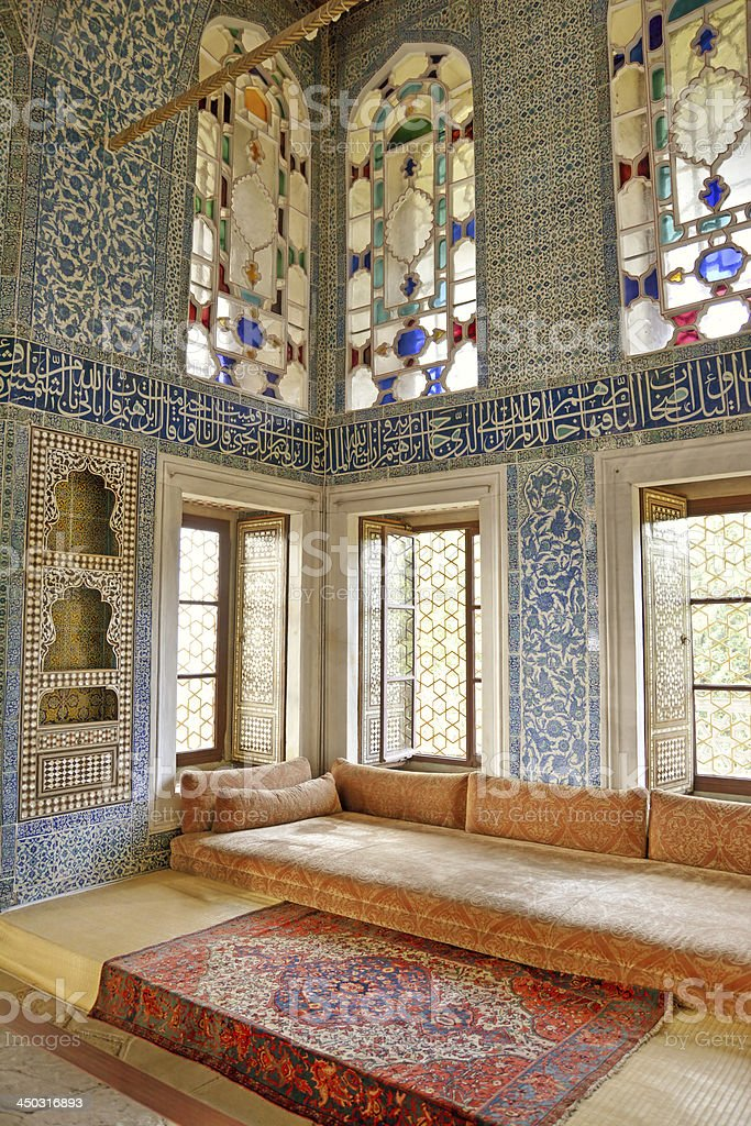 Magnificent interior design of Topkapi Palace of Istanbul stock photo