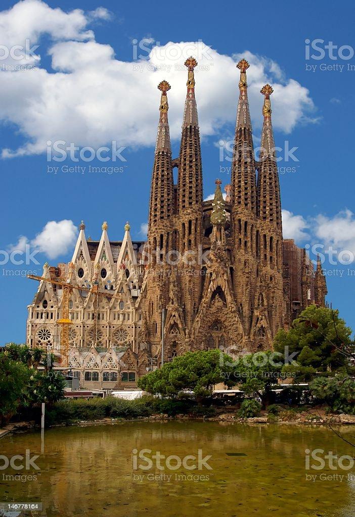 Magnificent La Sagrada Familia Church in blue sky stock photo