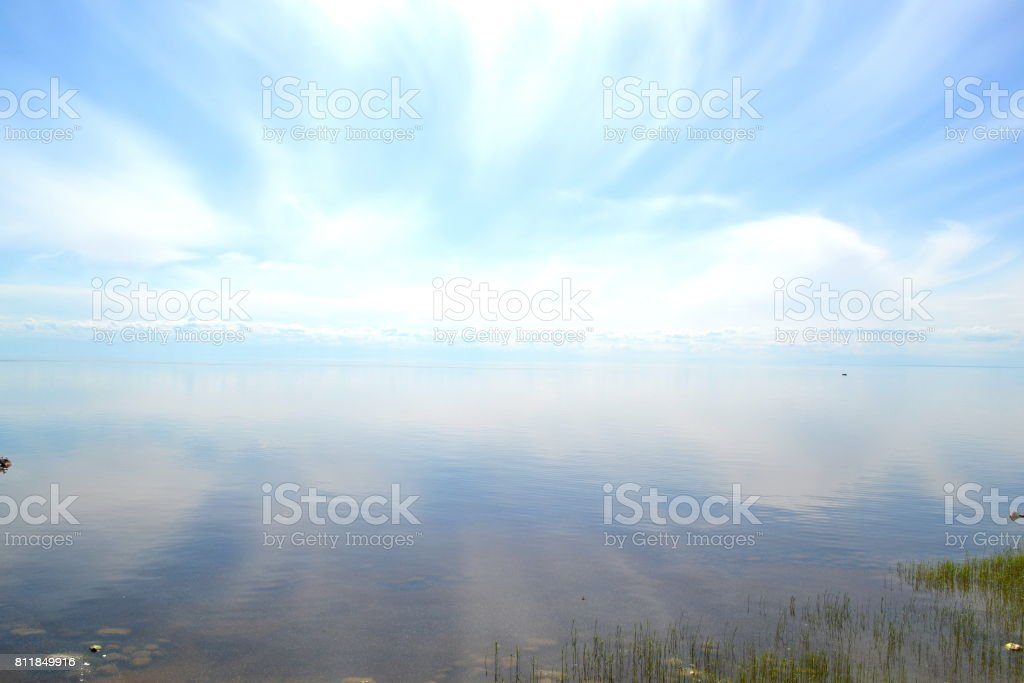 Magnificent landscape: more lake, very beautiful sky, summer. stock photo