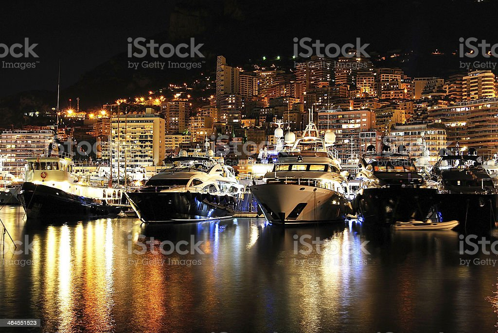 Magnificent landscape of Monaco at night from the sea stock photo